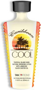Caribbean Cool™ Tropical Island Dark Natural Bronzing Lotion with Jamaican Black Castor Oil This natural bronzing formula will impart streak-free island dark results while also utilizing Caribbean skin care staple, Jamaican Black Castor Oil. You will slow down the signs of aging, help unblock clogged pores as well as soften and hydrate with the lushest levels of Vitamin E.