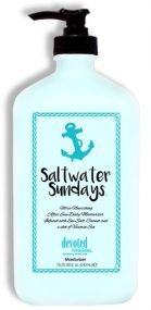 Saltwater Sundays Infused with Sea Salt, Coconut and a shot of Vitamin Sea Ultra-Nourishing After Sun Daily Moisturizer This replenishing formula is ideal after sun exposure or anytime you need extra hydration. Saltwater Sundays™ utilizes the deeply nourishing natural ingredients: Sea Salt, Coconut Oil, and Cucumber in an Aloe Vera based créme designed for results you can see and feel. Relax and replenish!